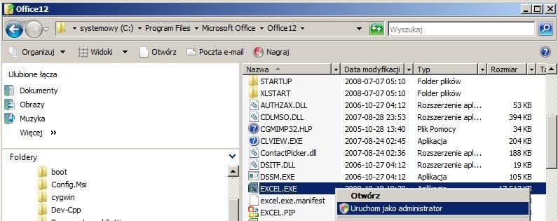 Uruchomienie programu Excel z prawami administratora